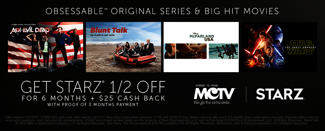 STARZ 1/2 Off for 6 Months